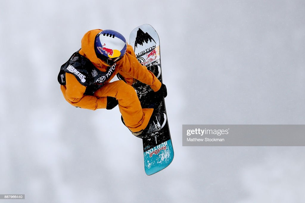 Brock Crouch #17 of the United States trains for the FIS World Cup 2018 Men's Snowboard Big Air during the Toyota U.S. Grand Prix on December 7, 2017 in Copper Mountain, Colorado.