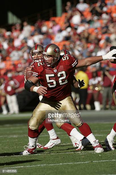 Brock Gutierrez of the San Francisco 49ers blocks against the Arizona Cardinals at Monster Park on October 10 2004 in San Francisco California The...