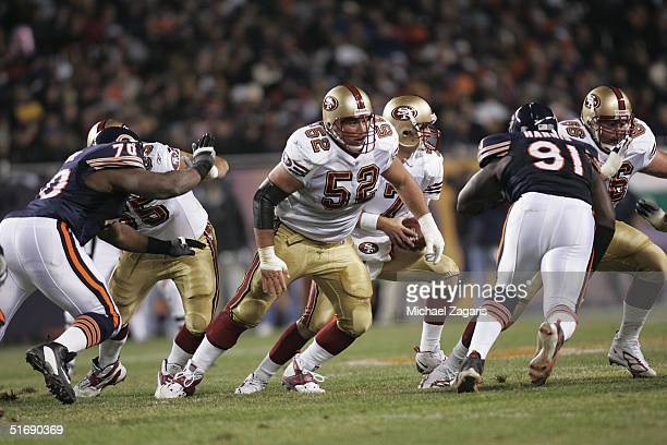 Brock Gutierrez of the San Francisco 49ers blocks against the Chicago Bears at Soldier Field on October 31 2004 in Chicago Illinois The Bears...