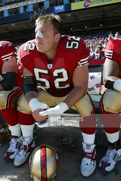 Brock Gutierrez of the San Francisco 49ers during the game against the Arizona Cardinals at Monster Park on October 10 2004 in San Francisco...