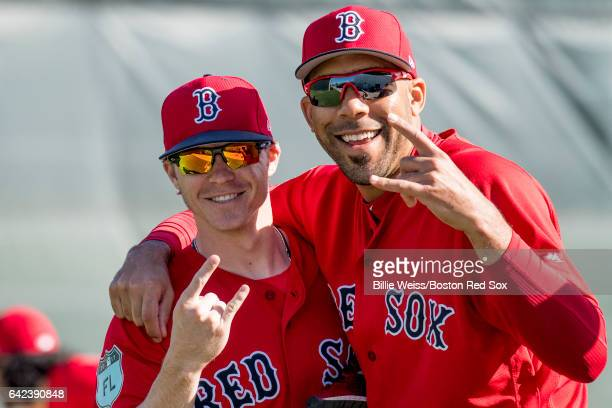 Brock Holt and David Price of the Boston Red Sox pose for a photo during a team workout on February 17 2017 at Fenway South in Fort Myers Florida