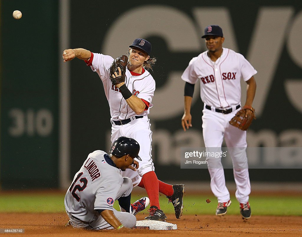 Brock Holt #26 of the Boston Red Sox attempts a double play as Francisco Lindor #12 of the Cleveland Indians slides late in to second base in the fourth inning at Fenway Park on August 18, 2015 in Boston, Massachusetts.