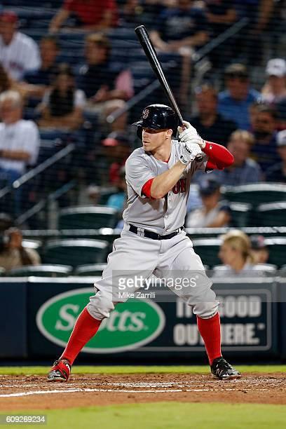 Brock Holt of the Boston Red Sox bats against the Atlanta Braves at Turner Field on April 25 2016 in Atlanta Georgia
