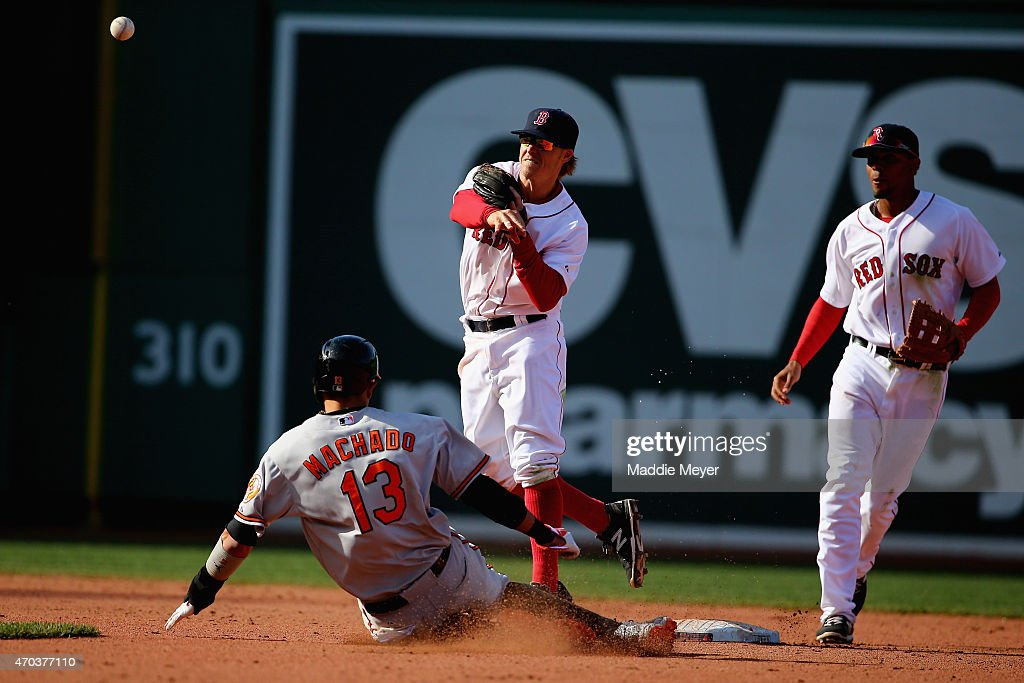 Brock Holt #26 of the Boston Red Sox forces Manny Machado #13 of the Baltimore Orioles out in a double play during the ninth inning at Fenway Park on April 19, 2015 in Boston, Massachusetts. The Orioles defeat the Red Sox 8-3.