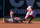 Brock Holt of the Boston Red Sox is late with the tag as Manny Machado of the Baltimore Orioles slides safely into second base during the sixth...