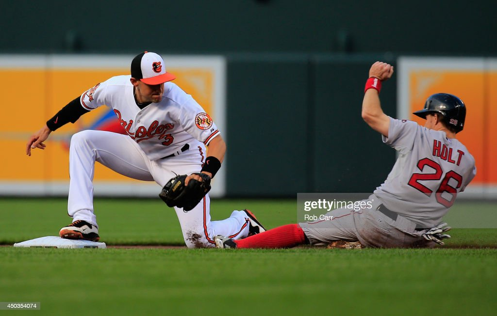 <a gi-track='captionPersonalityLinkClicked' href=/galleries/search?phrase=Brock+Holt&family=editorial&specificpeople=9690034 ng-click='$event.stopPropagation()'>Brock Holt</a> #26 of the Boston Red Sox is tagged out trying to steal second base by <a gi-track='captionPersonalityLinkClicked' href=/galleries/search?phrase=Ryan+Flaherty&family=editorial&specificpeople=4412528 ng-click='$event.stopPropagation()'>Ryan Flaherty</a> #3 of the Baltimore Orioles during the first inning at Oriole Park at Camden Yards on June 9, 2014 in Baltimore, Maryland.