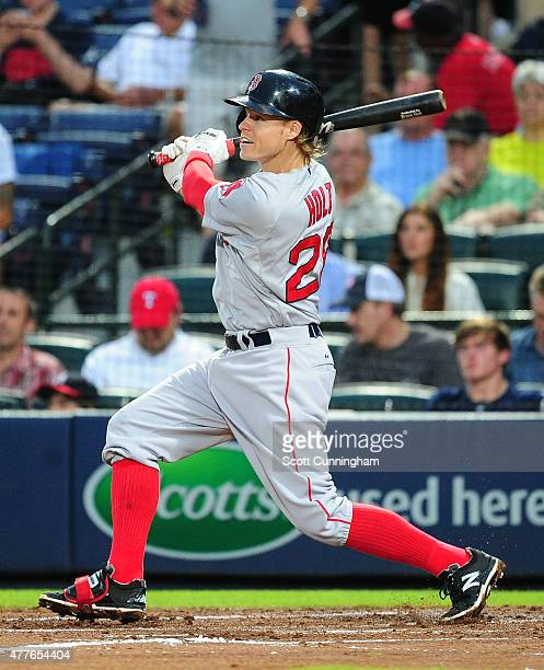 Brock Holt of the Boston Red Sox leads off the fourth inning with a triple against the Atlanta Braves at Turner Field on June 18 2015 in Atlanta...