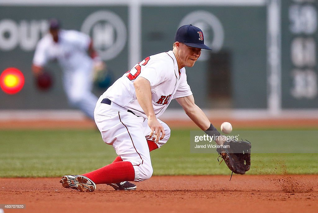 <a gi-track='captionPersonalityLinkClicked' href=/galleries/search?phrase=Brock+Holt&family=editorial&specificpeople=9690034 ng-click='$event.stopPropagation()'>Brock Holt</a> #26 of the Boston Red Sox misplays a ground ball at third base in the first inning against the Houston Astros during the game at Fenway Park on August 16, 2014 in Boston, Massachusetts.