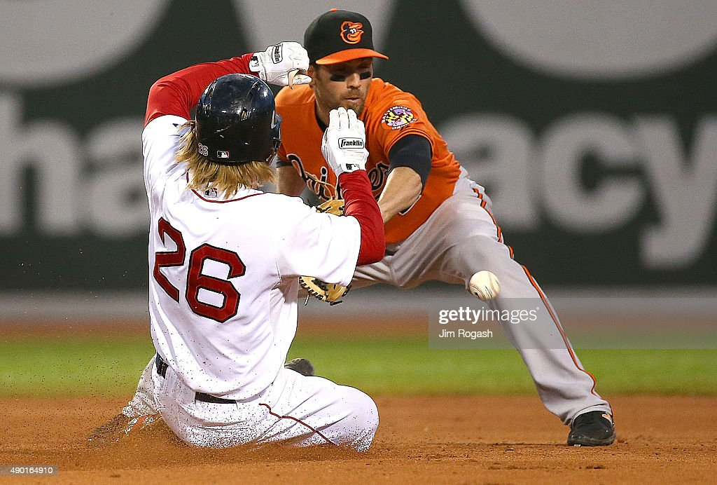 Brock Holt #26 of the Boston Red Sox reaches second base on an error as J.J. Hardy #2 of the Baltimore Orioles takes a late throw in the eighth inning at Fenway Park on September 26, 2015 in Boston, Massachusetts.