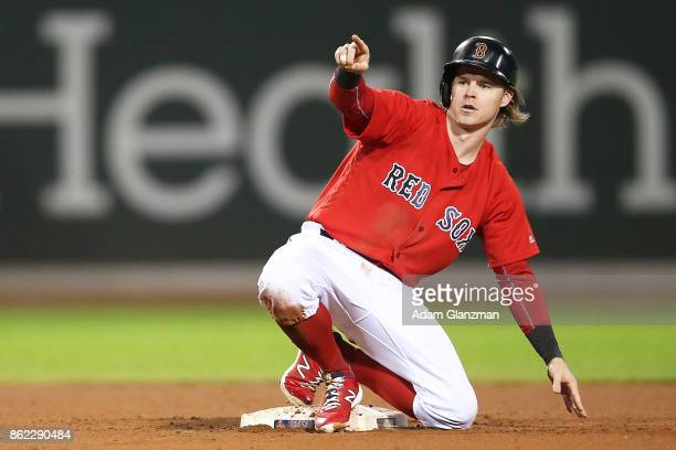 Brock Holt of the Boston Red Sox reacts during a game against the Houston Astros at Fenway Park on September 29 2017 in Boston Massachusetts