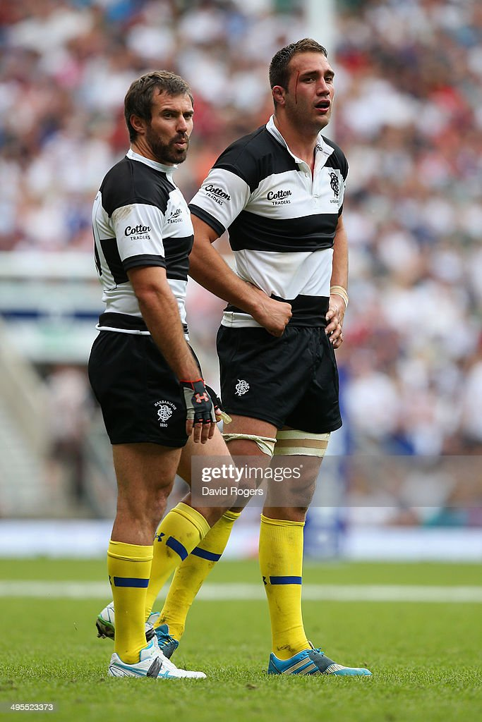 Brock James and Alexandre Lapandry of the Barbarians look on during the Rugby Union International Match between England and The Barbarians at Twickenham Stadium on June 1, 2014 in London, England.