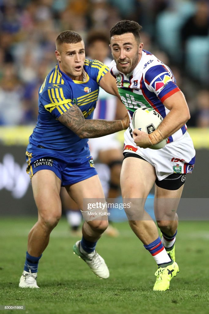 Brock Lamb of the Knights breaks away during the round 23 NRL match between the Parramatta Eels and the Newcastle Knights at ANZ Stadium on August 11, 2017 in Sydney, Australia.