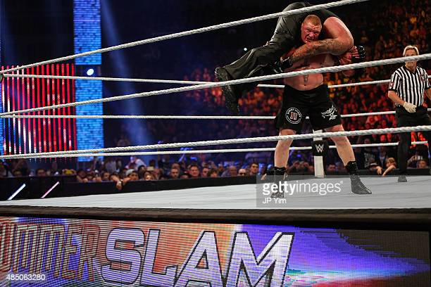 Brock Lesnar and The Undertaker battle it out at the WWE SummerSlam 2015 at Barclays Center of Brooklyn on August 23 2015 in New York City