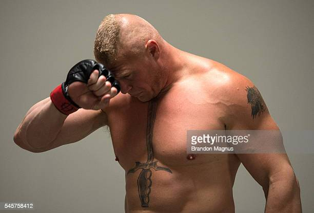 Brock Lesnar backstage during the UFC 200 event on July 9 2016 at TMobile Arena in Las Vegas Nevada