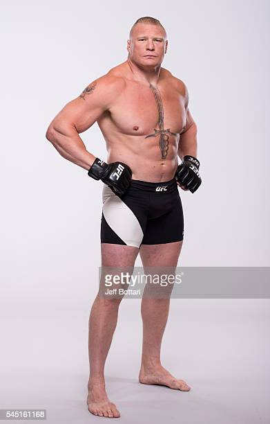 Brock Lesnar of Canada poses for a portrait during a UFC photo session at the Monte Carlo Resort and Casino on July 5 2016 in Las Vegas Nevada