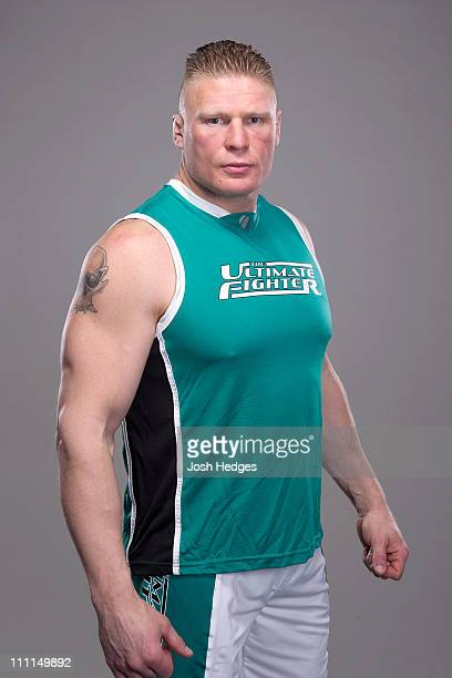 Brock Lesnar poses for a portrait during media day for The Ultimate Fighter Season 13 on January 25 2011 in Las Vegas Nevada