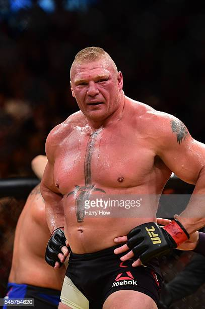 Brock Lesnar reacts after his victory over Mark Hunt of New Zealand in their heavyweight bout during the UFC 200 event on July 9 2016 at TMobile...