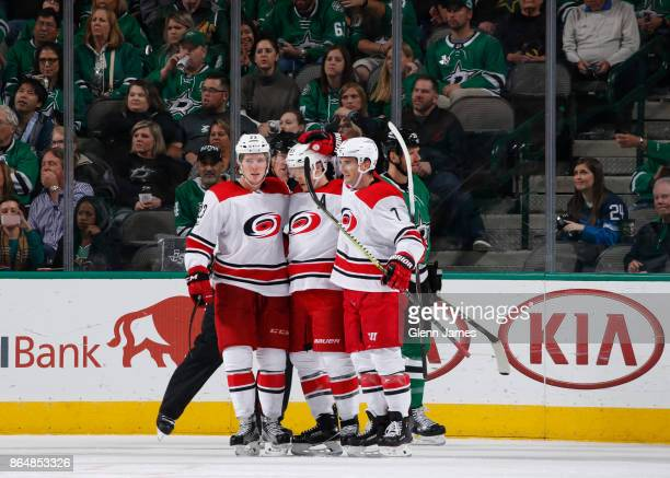 Brock McGinn Jeff Skinner and Derek Ryan of the Carolina Hurricanes celebrate a goal against the Dallas Stars at the American Airlines Center on...