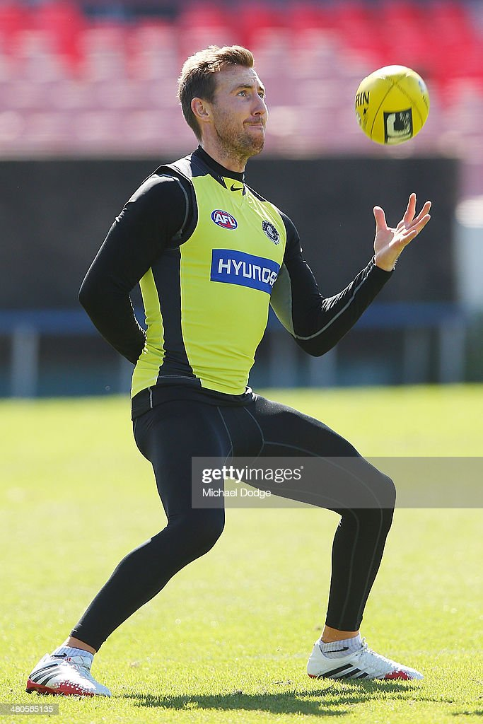 Brock McLean marks the ball during a Carlton Blues training session at Visy Park on March 26, 2014 in Melbourne, Australia.