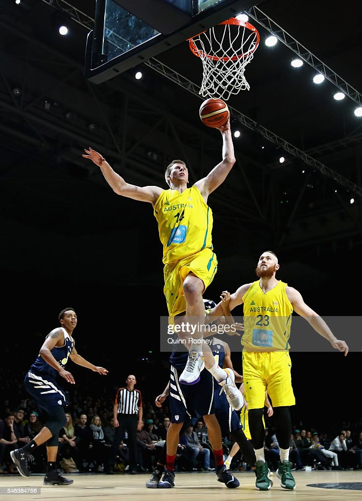 Brock Motum of the Boomers charges to the basket during the match between the Australian Boomers and the Pac12 College AllStars at Hisense Arena on...