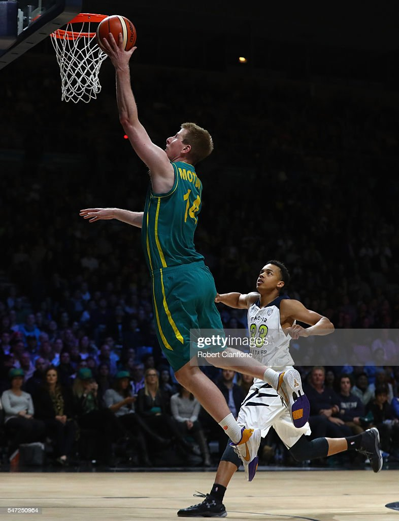 Brock Motum of the Boomers dunks the ball during the match between the Australian Boomers and the Pac-12 College All-stars at Hisense Arena on July 14, 2016 in Melbourne, Australia.