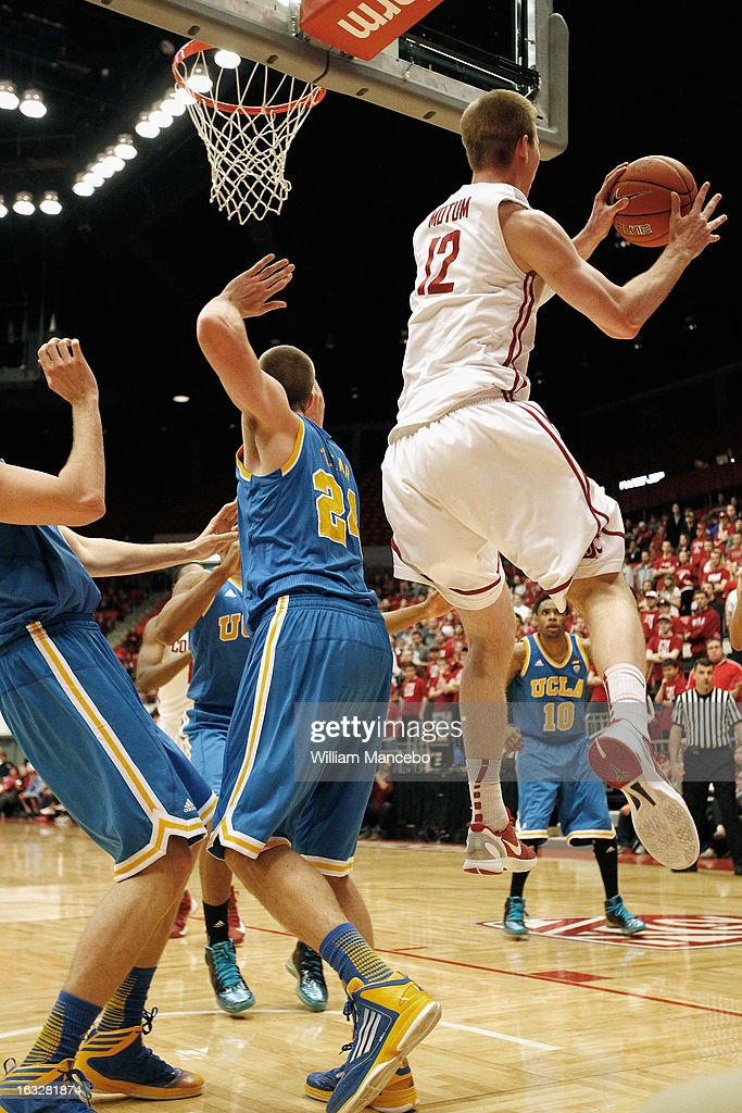 Brock Motum #12 of the Washington State Cougars handles the ball against the UCLA Bruins during the game at Beasley Coliseum on March 6, 2013 in Pullman, Washington.
