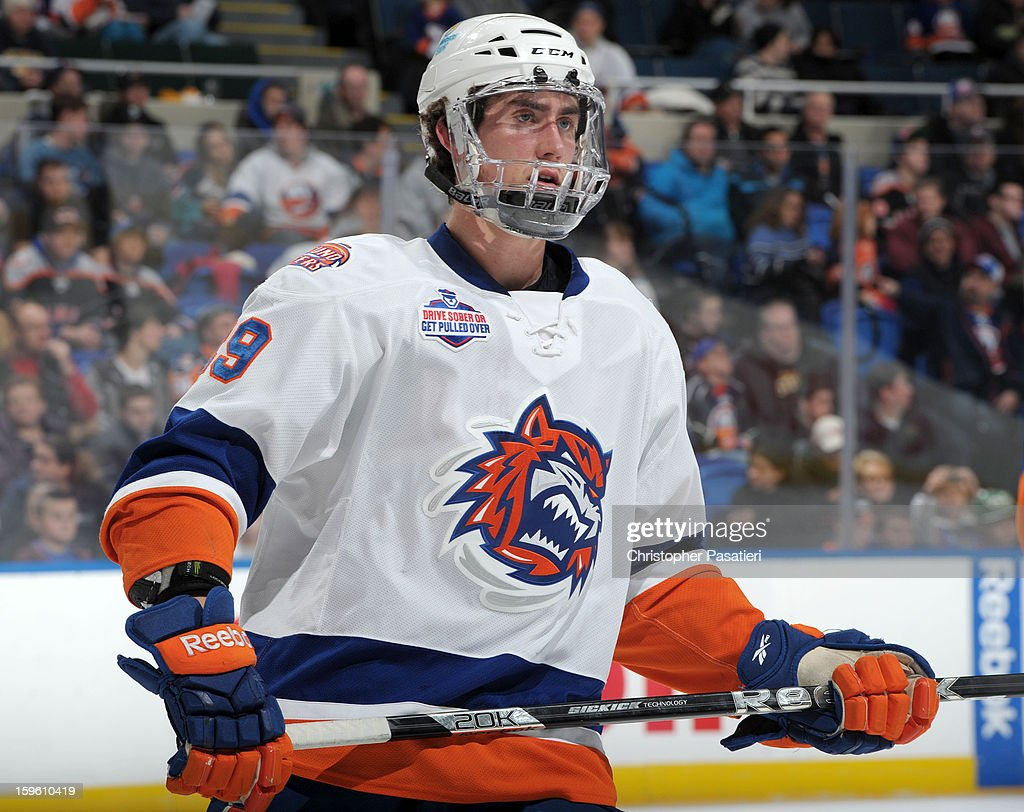 Brock Nelson #29 of Team White looks on during a scrimmage match between players of the New York Islanders and Bridgeport Sound Tigers on January 16, 2013 at Nassau Veterans Memorial Coliseum in Uniondale, New York.