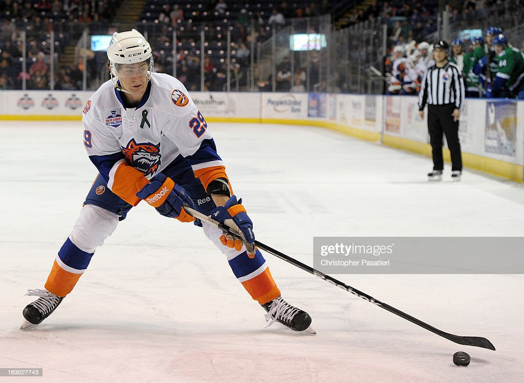 Brock Nelson #29 of the Bridgeport Sound Tigers reaches for a pass during an American Hockey League game against the Connecticut Whale on March 3, 2013 at the Webster Bank Arena at Harbor Yard in Bridgeport, Connecticut.