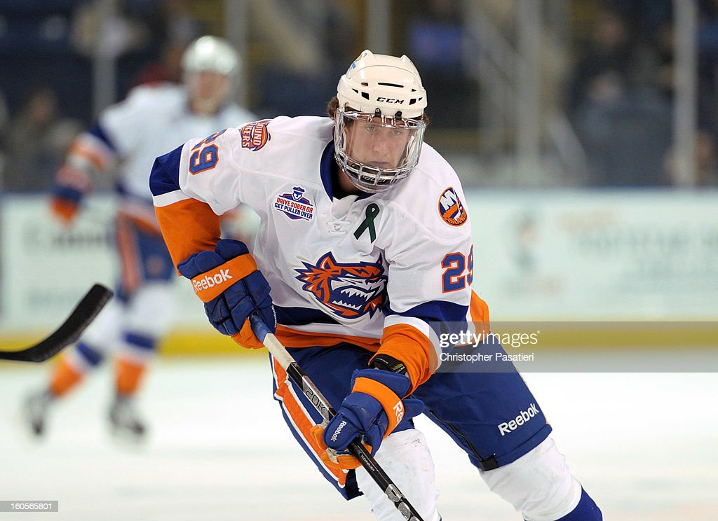 Brock Nelson #29 of the Bridgeport Sound Tigers skates during an American Hockey League against the Norfolk Admirals on February 2, 2013 at the Webster Bank Arena at Harbor Yard in Bridgeport, Connecticut.