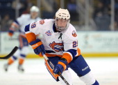 Brock Nelson of the Bridgeport Sound Tigers skates during an American Hockey League against the Norfolk Admirals on February 2 2013 at the Webster...
