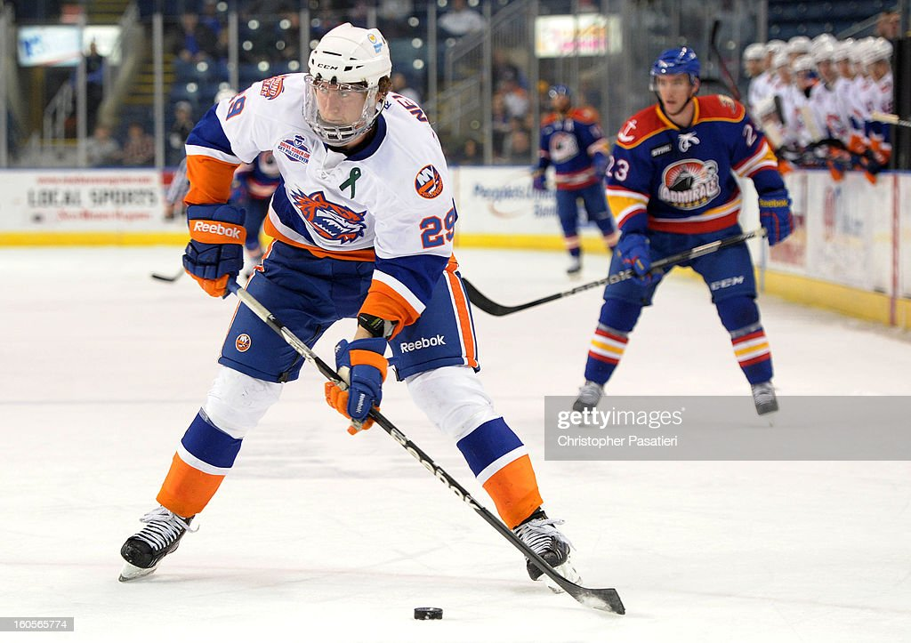 Brock Nelson of the Bridgeport Sound Tigers skates in on the goal on his way to a hat trick during an American Hockey League game against the Norfolk...