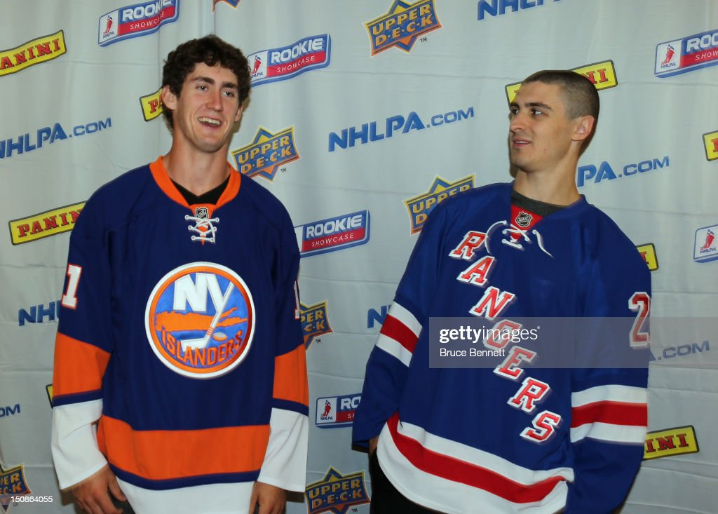 Brock Nelson of the New York Islanders and Chris Kreider of the New York Rangers clown around at the 2012 NHLPA rookie showcase at the MasterCard Centre on August 28, 2012 in Toronto, Canada.