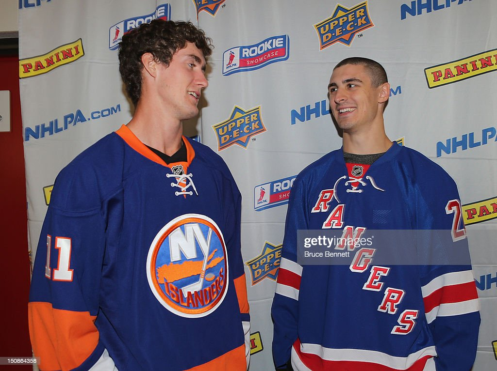 Brock Nelson of the New York Islanders and Chris Kreider of the New York Rangers meet the media at the 2012 NHLPA rookie showcase at the MasterCard Centre on August 28, 2012 in Toronto, Canada.