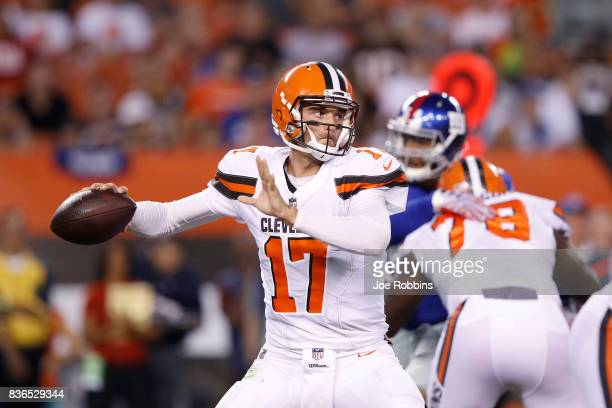 Brock Osweiler of the Cleveland Browns passes in the first half of a preseason game against the New York Giants at FirstEnergy Stadium on August 21...