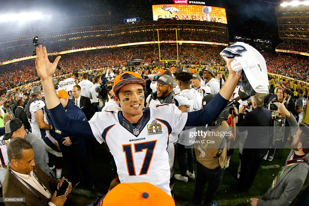 <a gi-track='captionPersonalityLinkClicked' href=/galleries/search?phrase=Brock+Osweiler&family=editorial&specificpeople=6501030 ng-click='$event.stopPropagation()'>Brock Osweiler</a> #17 of the Denver Broncos celebrates after winning Super Bowl 50 at Levi's Stadium on February 7, 2016 in Santa Clara, California. The Denver Broncos defeated the Carolina Panthers 24-10.