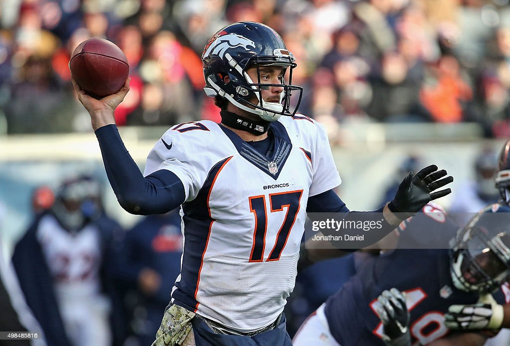 Brock Osweiler #17 of the Denver Broncos passes against the Chicago Bears at Soldier Field on November 22, 2015 in Chicago, Illinois. The Broncos defeated the Bears 17-15.