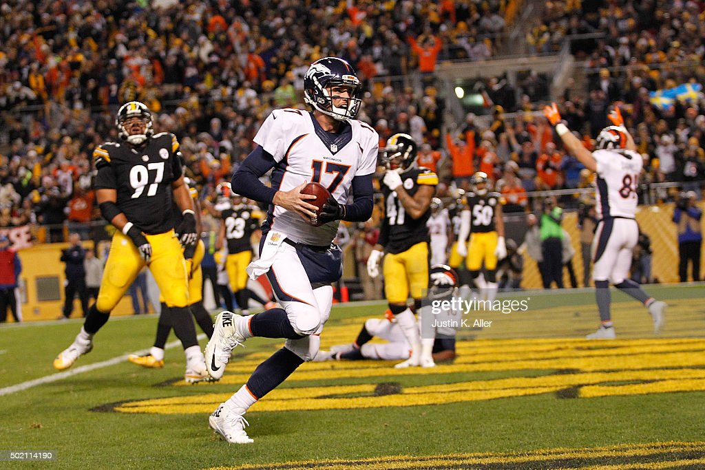 <a gi-track='captionPersonalityLinkClicked' href=/galleries/search?phrase=Brock+Osweiler&family=editorial&specificpeople=6501030 ng-click='$event.stopPropagation()'>Brock Osweiler</a> #17 of the Denver Broncos rushes for a 7 yard touchdown during the second quarter of the game against the Pittsburgh Steelers at Heinz Field on December 20, 2015 in Pittsburgh, Pennsylvania.