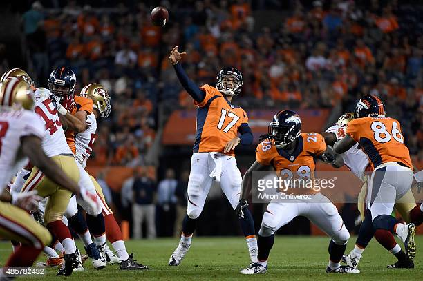 Brock Osweiler of the Denver Broncos throws a pass that would ultimately result in a defensive pass interference call against Mylan Hicks of the San...