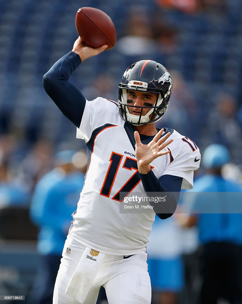 <a gi-track='captionPersonalityLinkClicked' href=/galleries/search?phrase=Brock+Osweiler&family=editorial&specificpeople=6501030 ng-click='$event.stopPropagation()'>Brock Osweiler</a> #17 of the Denver Broncos throws the ball during warmups before a game against the San Diego Chargers at Qualcomm Stadium on December 6, 2015 in San Diego, California.