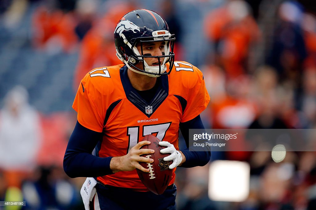 <a gi-track='captionPersonalityLinkClicked' href=/galleries/search?phrase=Brock+Osweiler&family=editorial&specificpeople=6501030 ng-click='$event.stopPropagation()'>Brock Osweiler</a> #17 of the Denver Broncos warms up prior to a 2015 AFC Divisional Playoff game against the Indianapolis Colts at Sports Authority Field at Mile High on January 11, 2015 in Denver, Colorado.