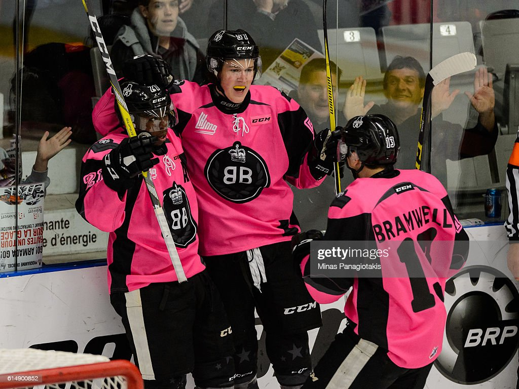 Brock Perry #57 of the Blainville-Boisbriand Armada celebrates his goal with teammates during the QMJHL game against the Halifax Mooseheads at the Centre d'Excellence Sports Rousseau on October 15, 2016 in Boisbriand, Quebec, Canada.