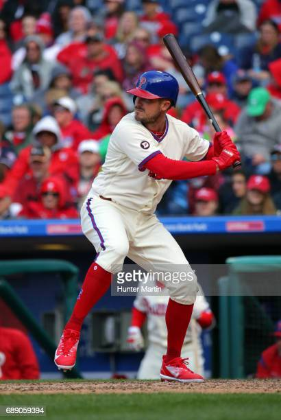 Brock Stassi of the Philadelphia Phillies bats during a game against the Washington Nationals at Citizens Bank Park on May 7 2017 in Philadelphia...