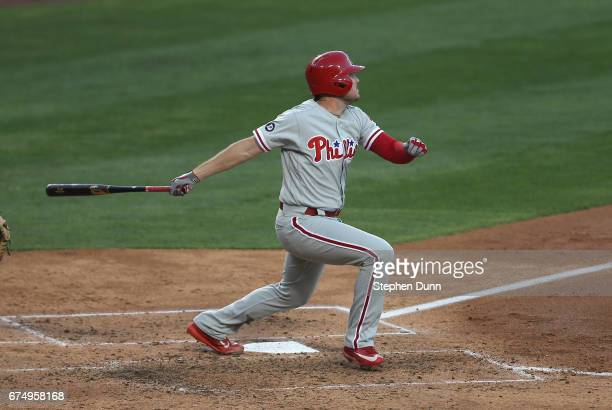 Brock Stassi of the Philadelphia Phillies hits a three run home run in the fourth inning against the Los Angeles Dodgers at Dodger Stadium on April...