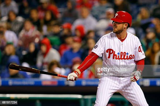 Brock Stassi of the Philadelphia Phillies in action against the Atlanta Braves during a game at Citizens Bank Park on April 22 2017 in Philadelphia...
