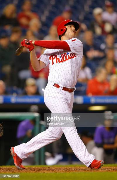 Brock Stassi of the Philadelphia Phillies in in action during a game against of the Colorado Rockies at Citizens Bank Park on May 22 2017 in...