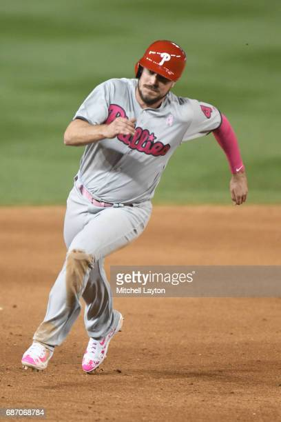 Brock Stassi of the Philadelphia Phillies runs to third base during game two of baseball game against the Washington Nationals at Nationals Park on...