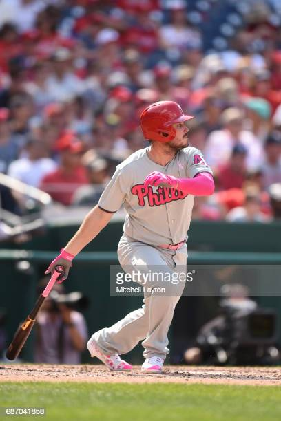 Brock Stassi of the Philadelphia Phillies takes a swing during game one of baseball game against the Washington Nationals at Nationals Park on May 14...