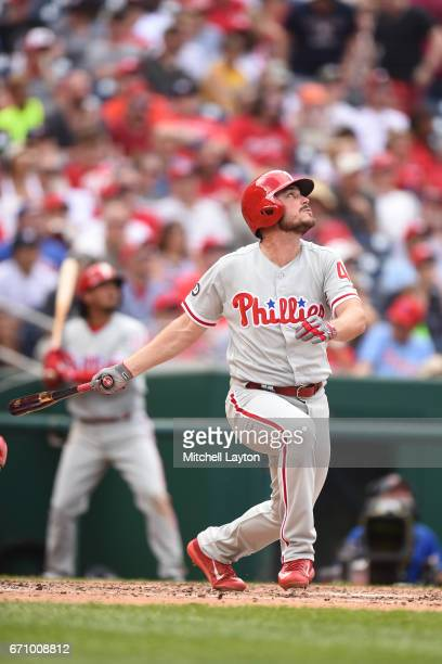 Brock Stassi of the Philadelphia Phillies takes a swing during the game against the Washington Nationals at Nationals Park on April 16 2017 in...