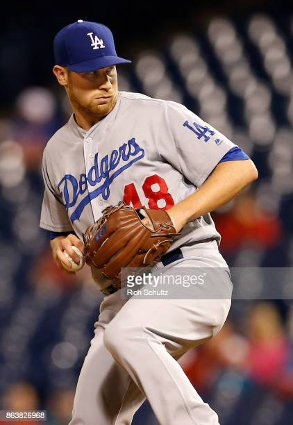 Brock Stewart of the Los Angeles Dodgers in action during a game against the Philadelphia Phillies at Citizens Bank Park on September 19 2017 in...