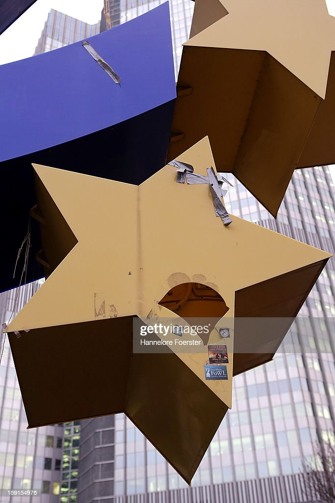 A brocken star of the giant Euro symbol stands outside the headquarters of the European Central Bank (ECB) on January 8, 2013 in Frankfurt am Main, Germany. The governing board of the ECB is scheduled to meet this coming Thursday and analysts are predicting the bank will keep its interest rates steady.